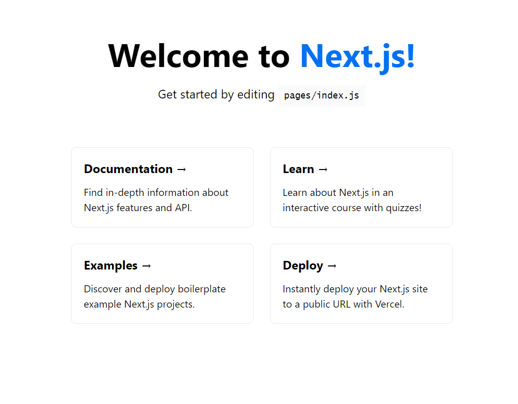 Nextjs welcome page