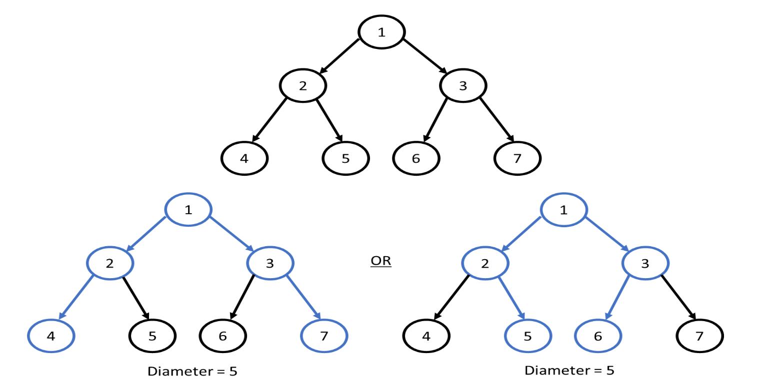 Diameter of a Binary Tree example - multiple diameter path