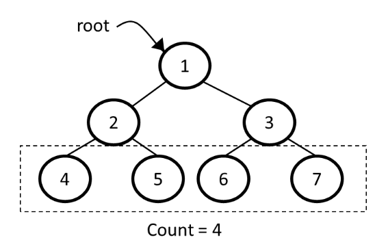 Number of leaf nodes in a binary tree example
